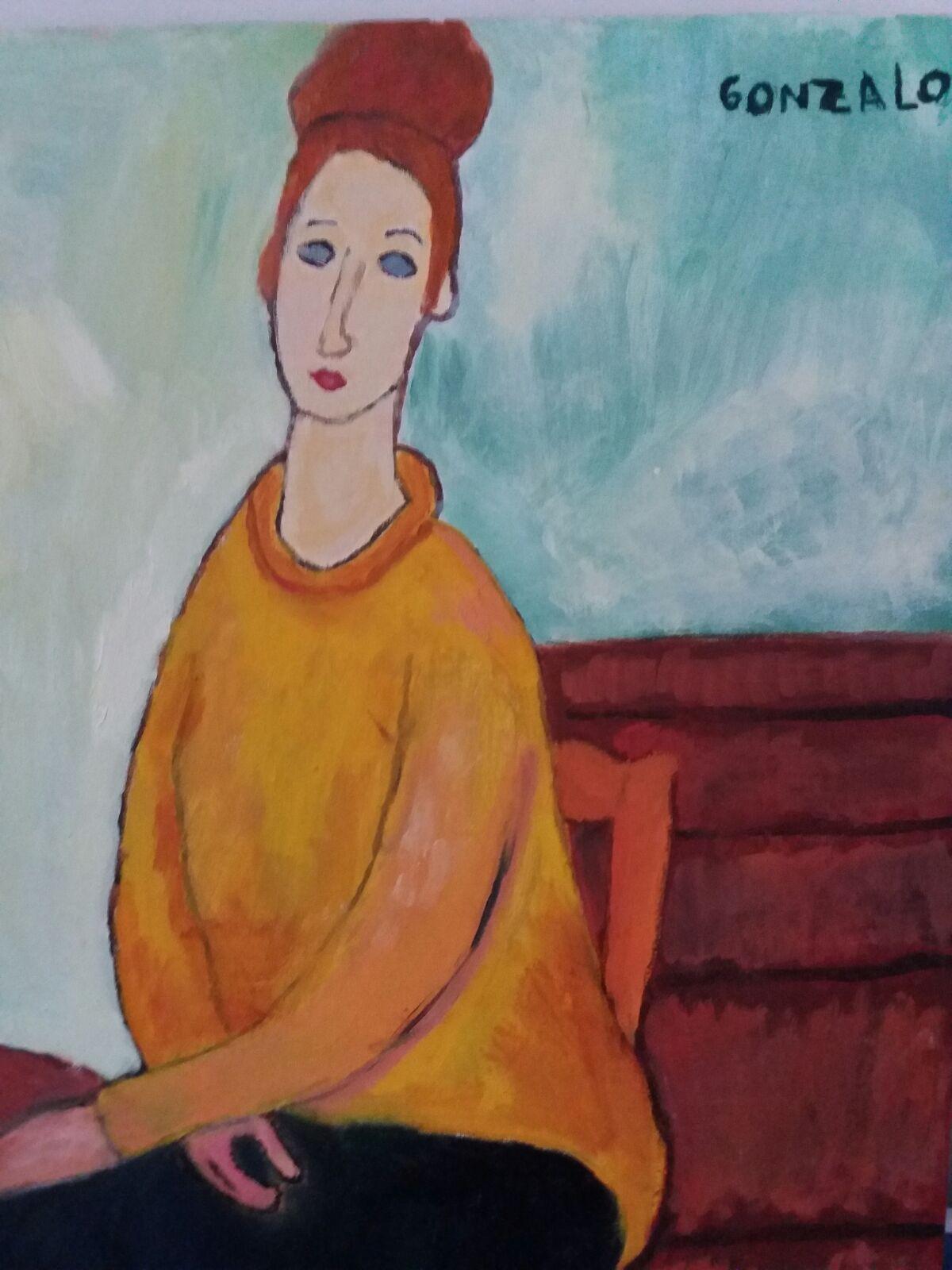 jeanne Hebuteme en jersey amarillo. Modigliani